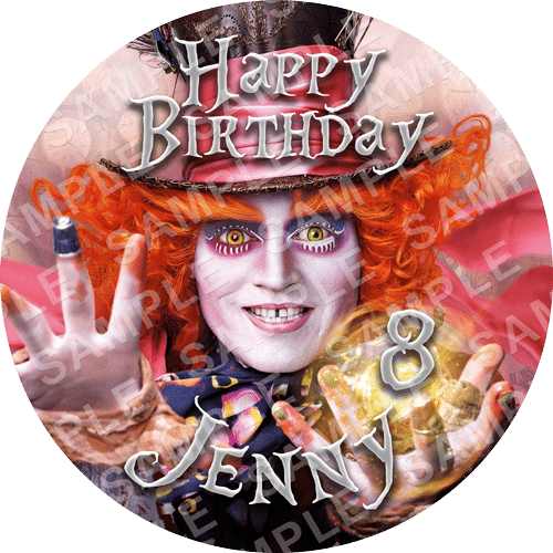 Mad Hatter Edible Cake Topper - Mad Hatter Edible Image - Round