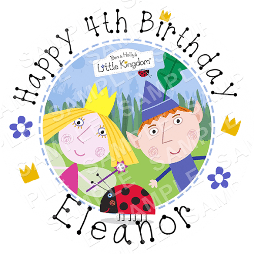 Ben and Holly Edible Cake Topper - Ben and Holly Edible Image - Round