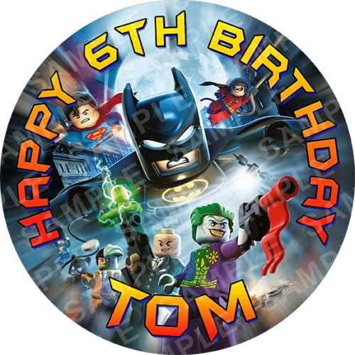 Lego Batman Edible Cake Topper - Lego Batman Edible Image - Round