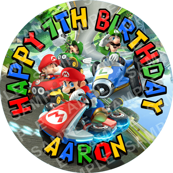 Mario Kart 8 Edible Cake Topper Personalised Printed