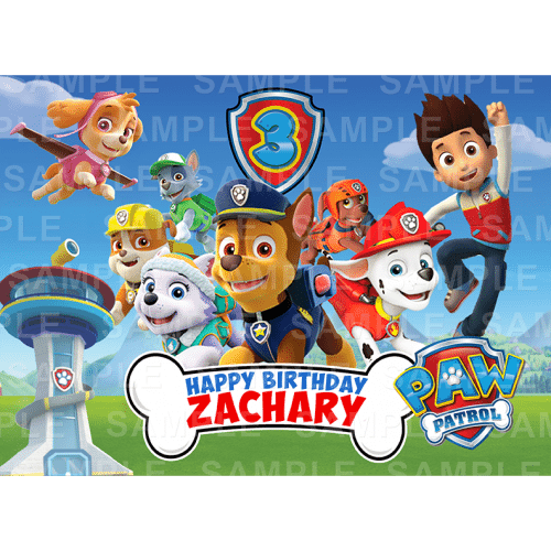 Paw Patrol Edible Cake Topper Personalised Printed Edible Image