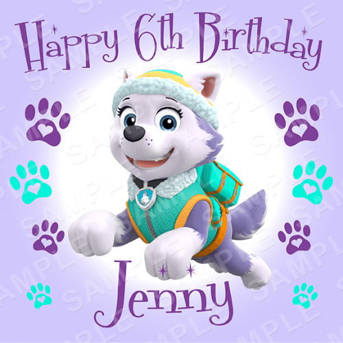 Paw Patrol Everest Edible Cake Topper Personalised