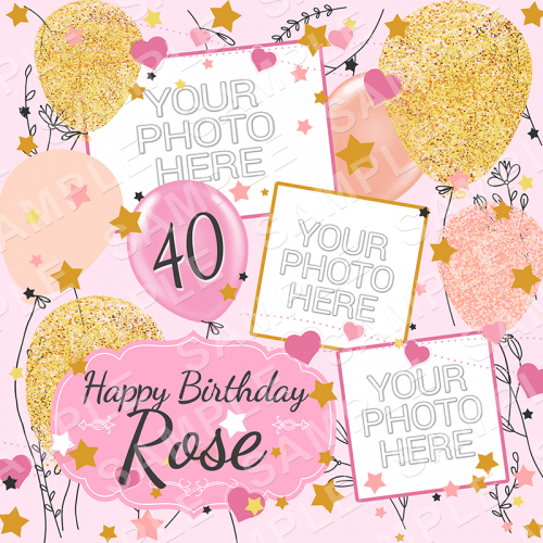 Pink and Gold Balloons - Birthday Edible Cake Topper - Birthday Edible Image - Square