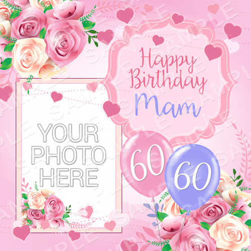 Pink Roses - Birthday Edible Cake Topper - Birthday Edible Image - Square