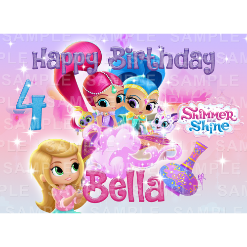 Shimmer and Shine Edible Cake Topper - Shimmer and Shine Edible Image - Rectangle (A4, A3, Quarter Sheet, Half Sheet)