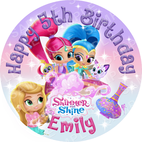 Shimmer and Shine Edible Cake Topper - Shimmer and Shine Edible Image - Round