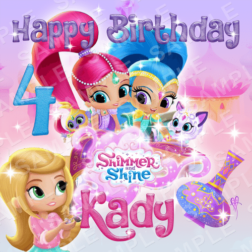 Shimmer and Shine Edible Cake Topper - Shimmer and Shine Edible Image - Square