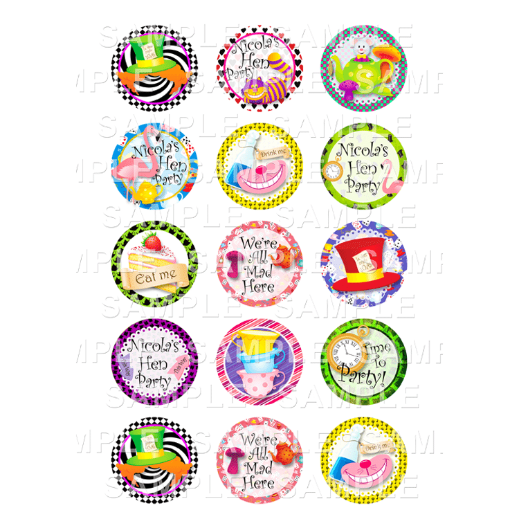 Mad Hatter Edible Cupcake Toppers - Mad Hatter Edible Image Cupcake Toppers