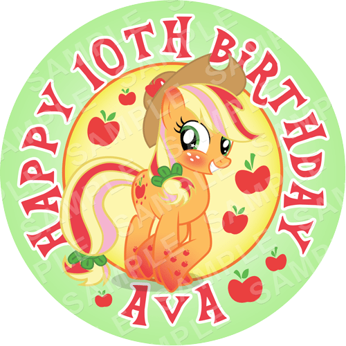 Apple Jack - My Little Pony Edible Cake Topper - My Little Pony Edible Image - Round