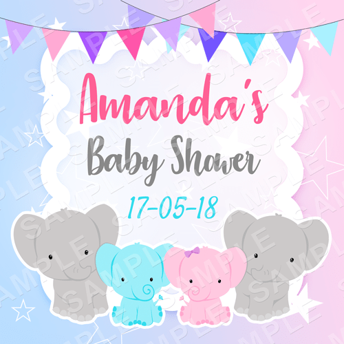 Baby Elephant - Gender Reveal or Twins Edible Cake Topper - Gender Reveal Edible Image - Square
