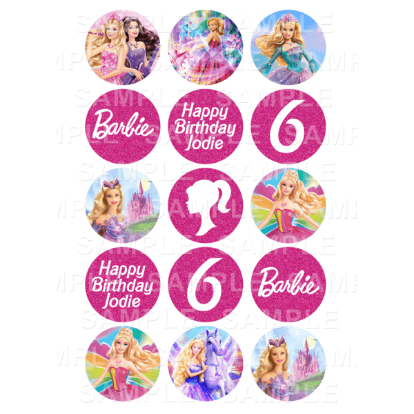 Barbie Edible Cupcake Toppers - Barbie Edible Image Cupcake Toppers
