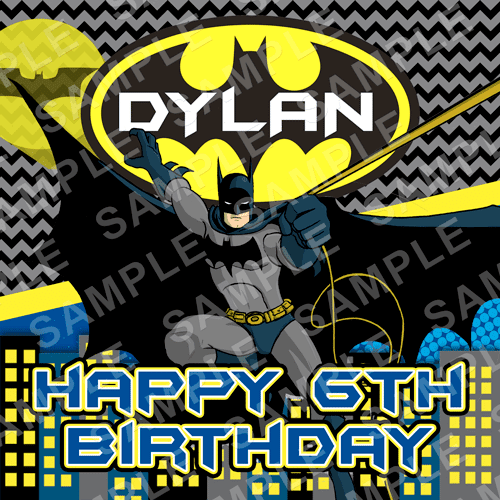 Batman Edible Cake Topper - Batman Edible Image - Square