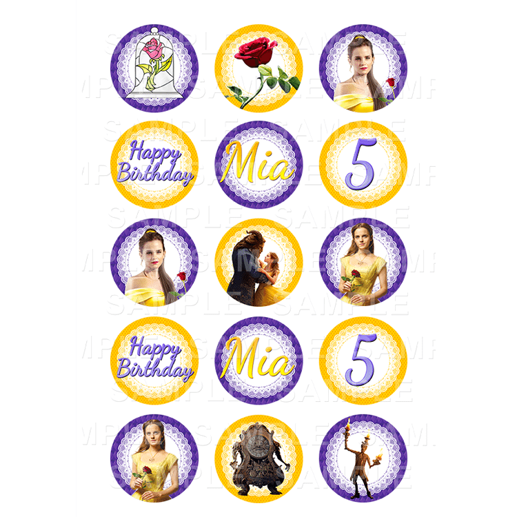 Beauty and rhe Beast Edible Cupcake Toppers - Beauty and rhe Beast Edible Image Cupcake