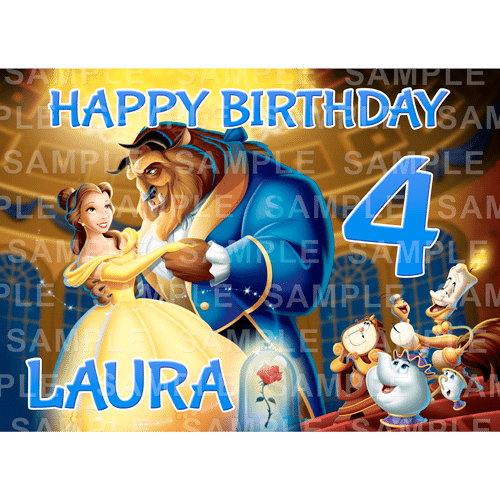 Beauty and the Beast Edible Cake Topper - Beauty and the Beast Edible Image - Rectangle (A4, A3, Quarter Sheet, Half Sheet)
