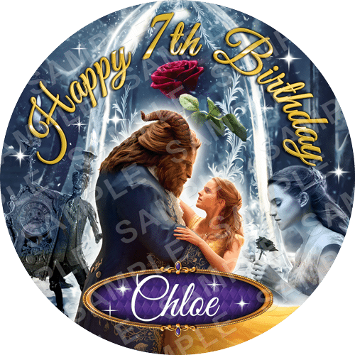 Beauty and the Beast Edible Cake Topper - Beauty and the Beast Edible Image - Round