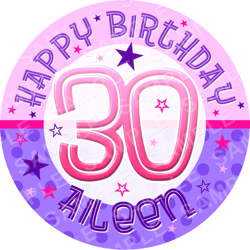 Birthday Edible Cake Topper - Birthday Edible Image - Round