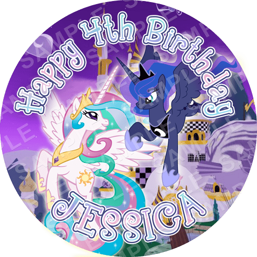 Celestia And Luna - My Little Pony Edible Cake Topper - My Little Pony Edible Image - Round