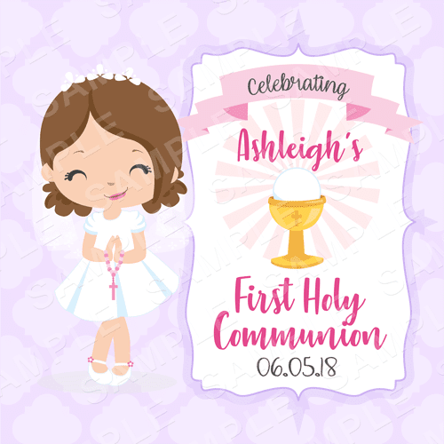 First Holy Communion Edible Cake Topper - Communion Edible Image - Square