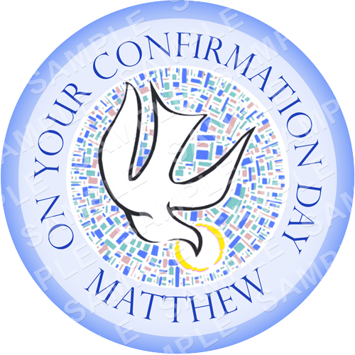 Confirmation Dove Edible Cake Topper - Confirmation Dove Edible Image - Round