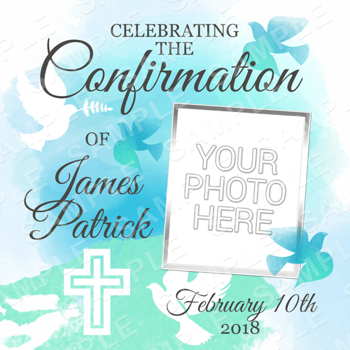 Confirmation Edible Cake Topper - Confirmation Edible Image - Square
