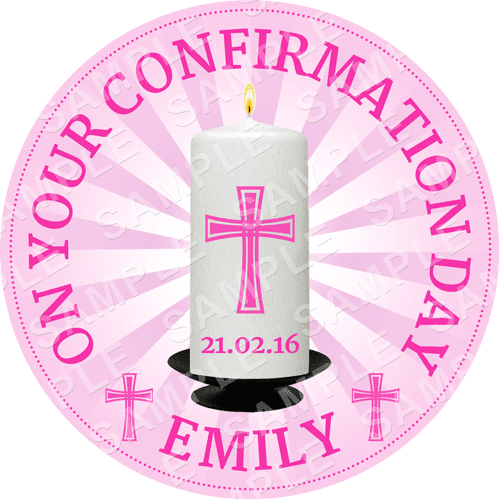 Confirmation Candle Edible Cake Topper - Confirmation Candle Edible Image - Round