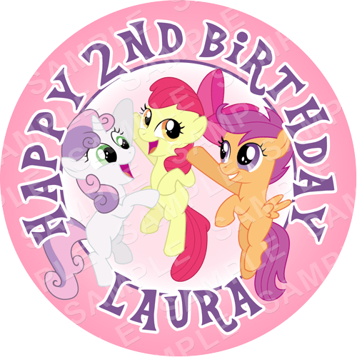 Cutie Mark Crusaders - My Little Pony Edible Cake Topper - My Little Pony Edible Image - Round