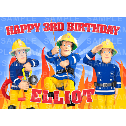 Fireman Sam Edible Cake Topper - Fireman Sam Edible Image - Rectangle (A4, A3, Quarter Sheet, Half Sheet)