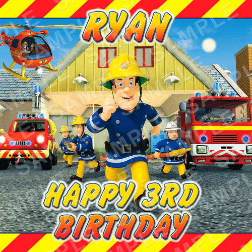 Fireman Sam Edible Cake Topper - Fireman Sam Edible Image - Square