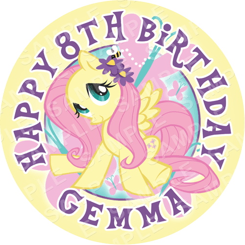 Fluttershy - My Little Pony Edible Cake Topper - My Little Pony Edible Image - Round