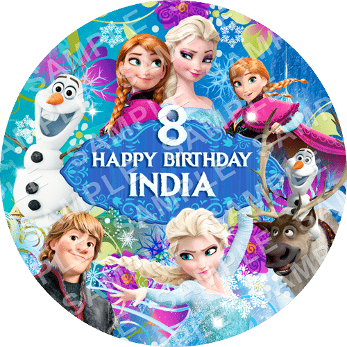 Frozen Edible Cake Topper - Frozen Edible Image - Round