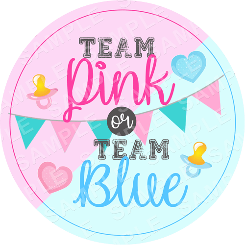 Team Pink or Blue - Gender Reveal Edible Cake Topper - Gender Reveal Edible Image - Round