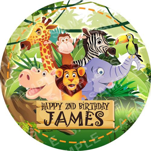 Jungle Safari Edible Cake Topper - Jungle Safari Edible Image - Round