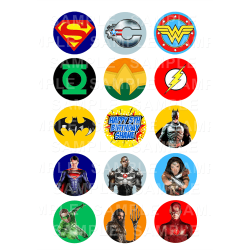 "15 x 2"" - Justice League Edible Cupcake Toppers - Justice League Edible Image Cupcake"
