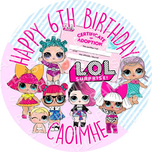LOL Doll Edible Cake Topper - LOL Doll Edible Image - Round