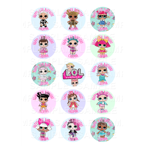 LOL Doll Edible Cupcake Toppers - LOL Doll Edible Image Cupcake Toppers