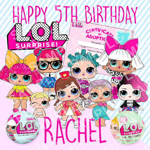 LOL Doll Edible Cake Topper - LOL Doll Edible Image - Square