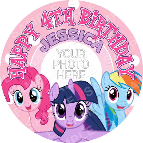 My Little Pony Edible Cake Topper - My Little Pony Edible Image - Round