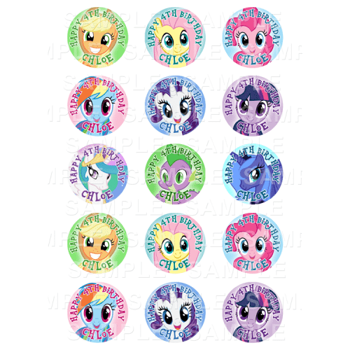 My Little Pony Edible Cupcake Toppers - My Little Pony Edible Image Cupcake Toppers