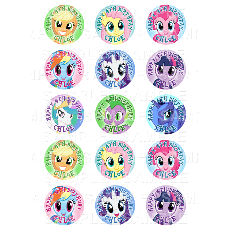 My Little Pony - Edible Cupcake Toppers - Personalised