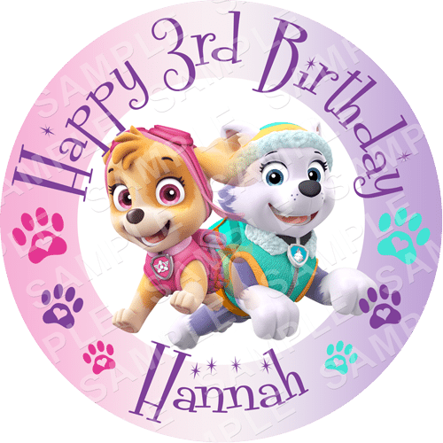 Skye and Everest - Paw Patrol Edible Cake Topper - Paw Patrol Edible Image - Round