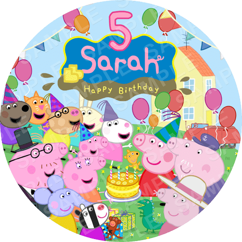 Peppa Pig Edible Cake Topper - Peppa Pig Edible Image - Round