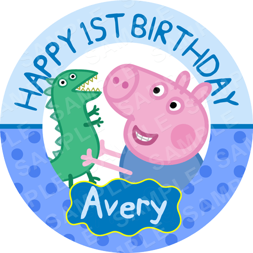 George Pig Edible Cake Topper - Peppa Pig Edible Image - Round