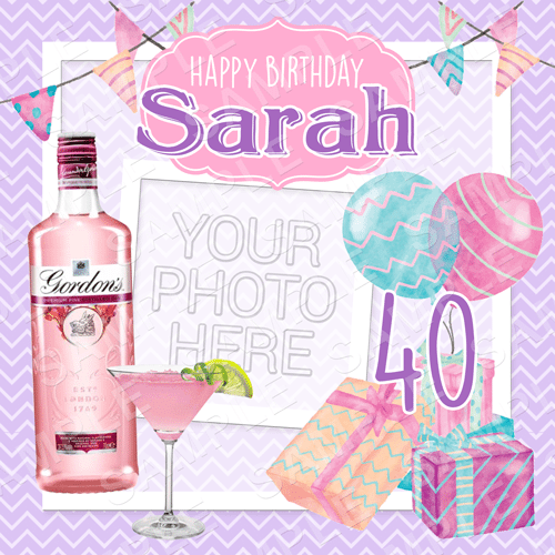 Pink Gin - Birthday Edible Cake Topper - Birthday Edible Image - Square