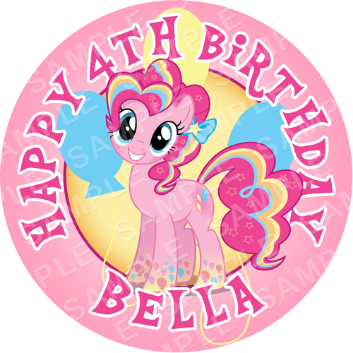 Pinkie Pie - My Little Pony Edible Cake Topper - My Little Pony Edible Image - Round