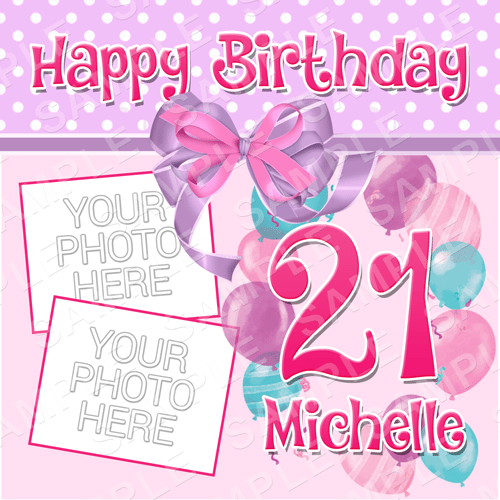 Bows and Balloons - Birthday Edible Cake Topper - Birthday Edible Image - Square