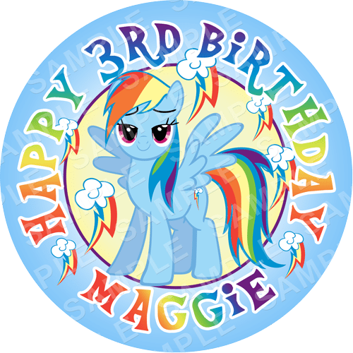 Rainbow Dash - My Little Pony Edible Cake Topper - My Little Pony Edible Image - Round