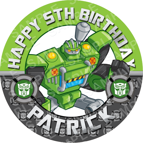 Boulder - Transformers Rescue Bots Edible Cake Topper - Rescue Bots Edible Image - Round