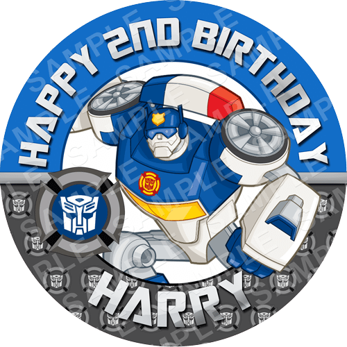 Chase - Transformers Rescue Bots Edible Cake Topper - Rescue Bots Edible Image - Round