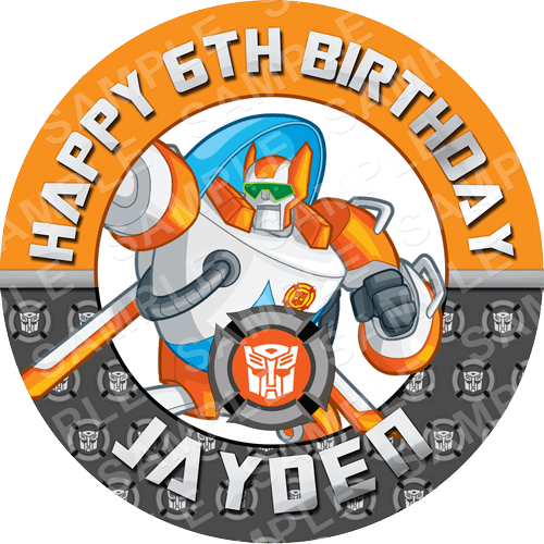 Blades - Transformers Rescue Bots Edible Cake Topper - Rescue Bots Edible Image - Round