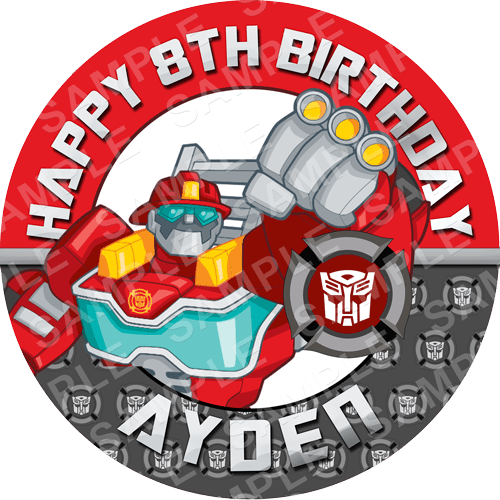 Heatwave - Transformers Rescue Bots Edible Cake Topper - Rescue Bots Edible Image - Round